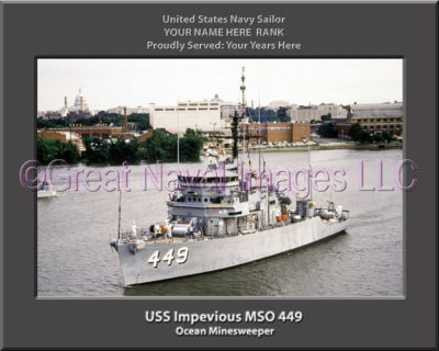 USS Impevious MSO 449 Personalized Photo on Canvas
