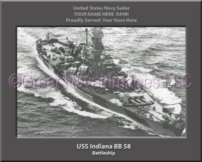 USS Indiana BB 58 Personalized Photo on Canvas