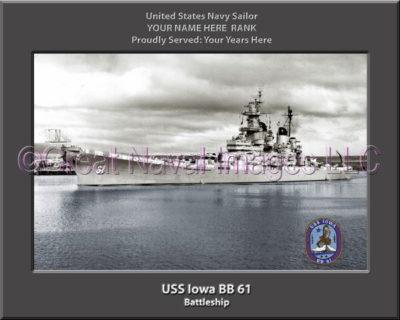 USS Iowa BB 61 Personalized Photo on Canvas