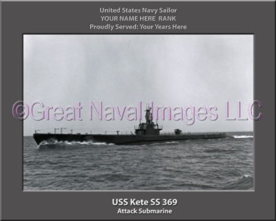 USS Kete SS 369 Personalized Photo on Canvas