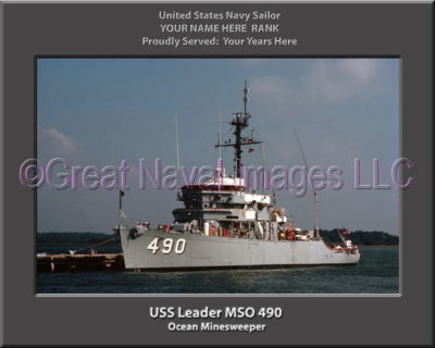 USS Leader MSO 490 Personalized Photo on Canvas