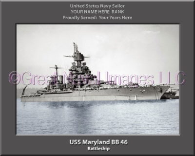 USS Maryland BB 46 Personalized Photo on Canvas