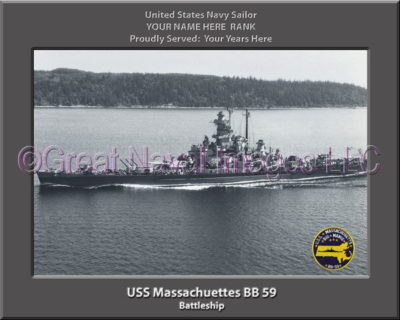 USS Massachuettes BB 59 Personalized Photo on Canvas