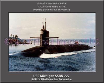 USS Michigan SSBN 727 Personalized Photo on Canvas