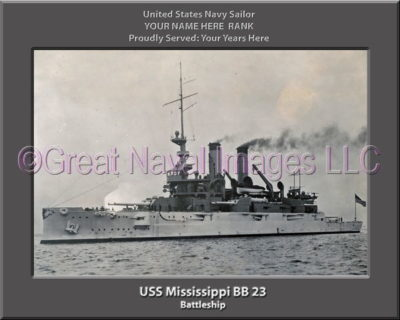 USS Mississippi BB 23 Personalized Photo on Canvas
