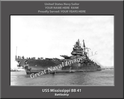 USS Mississippi BB 41 Personalized Photo on Canvas