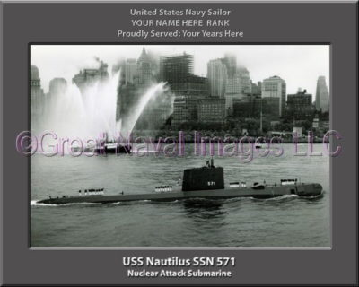 USS Nautilius SSN 571 Personalized Photo on Canvas