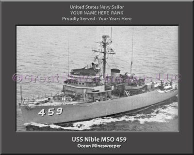USS Nible MSO 459 Personalized Photo on Canvas