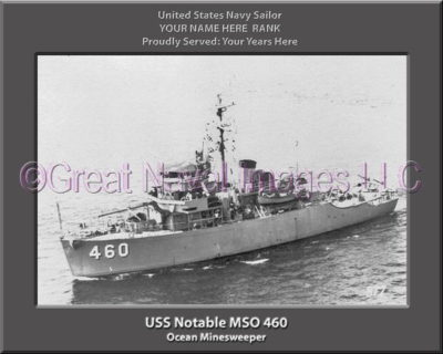 USS Notable MSO 460 Personalized Photo on Canvas