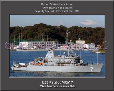 USS Patriot MCM 7 Personalized Photo on Canvas