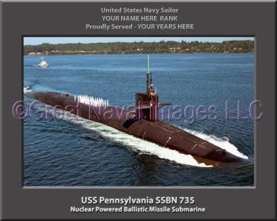 USS Pennsylvania SSBN 735 Personalized Photo on Canvas