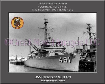 USS Persistent MSO 491 Personalized Photo on Canvas