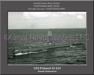 USS Pickerel SS 524 Personalized Photo on Canvas