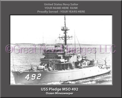 USS Pledge MSO 492 Personalized Photo on Canvas