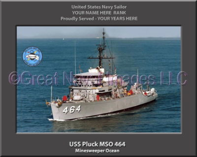 USS Pluck MSO 464 Personalized Photo on Canvas