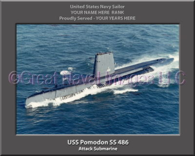 USS Pomodon SS 486 Personalized Photo on Canvas