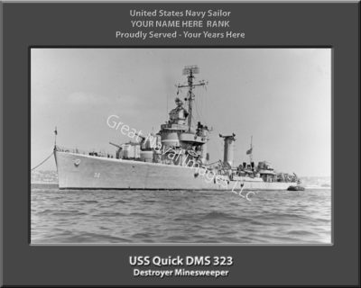 USS Quick DMS 32 Personalized Navy Ship Photo