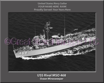 USS Rival MSO 468 Personalized Photo on Canvas