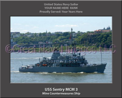 USS Sentry MCM 3 Personalized Photo on Canvas