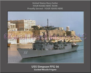 USS Simpson FFG 56 Personalized Ship Photo on Canvas