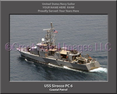 USS Sirocco PC 6 Personalized Photo on Canvas