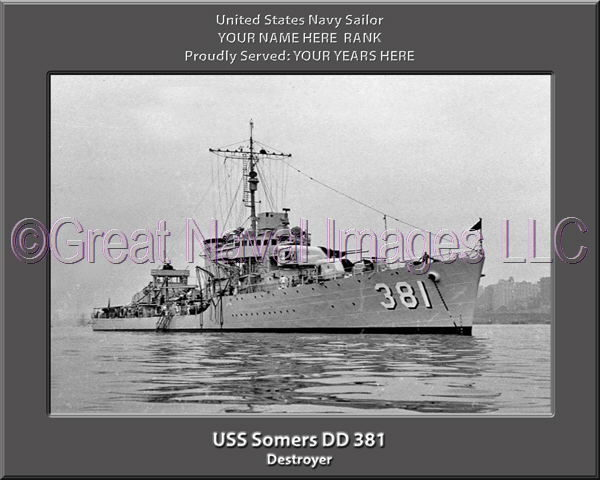 USS Somers DD 381 Personalized Navy Ship Photo