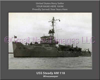 USS Steady AM 118 Personalized Photo on Canvas