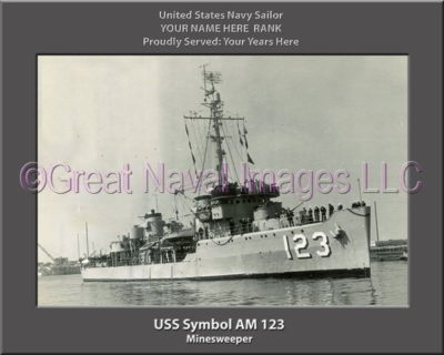 USS Symbol AM 123 Personalized Photo on Canvas
