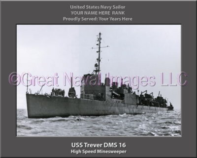 USS Trever DMS 16 Personalized Photo on Canvas
