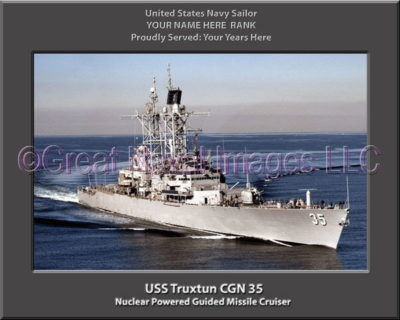 USS Truxtun CGN 35 Personalized Navy Ship Photo Printed on Canvas