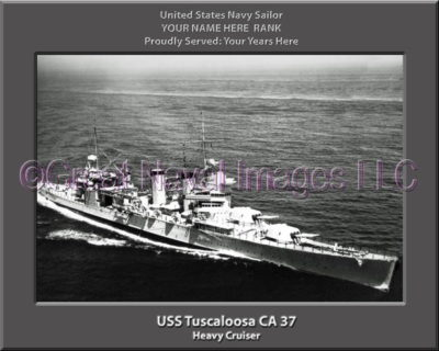 USS tuscaloosa CA 37 Personalized Navy Ship Photo Printed on Canvas