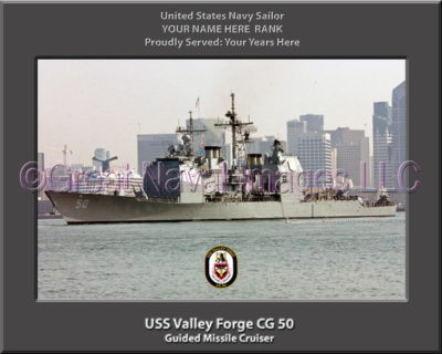 USS Valley Forge CG 50 Personalized Navy Ship Photo Printed on Canvas