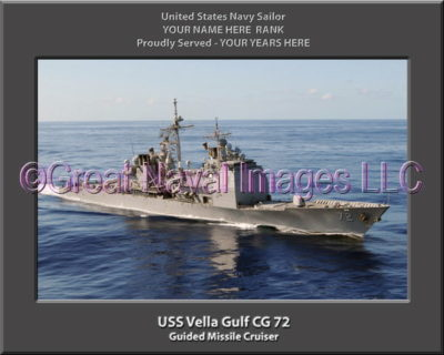 USS Vella Gulf CG 72 Personalized Navy Ship Photo Printed on Canvas