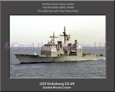 USS Vicksburg CG 69 Personalized Navy Ship Photo Printed on Canvas