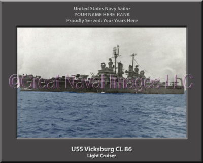 USS Vicksburg CL 86 Personalized Navy Ship Photo Printed on Canvas