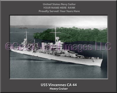 USS Vincennes CA 44 Personalized Navy Ship Photo Printed on Canvas