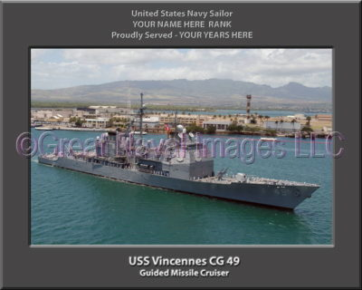 USS Vincennes CG 49 Personalized Navy Ship Photo Printed on Canvas