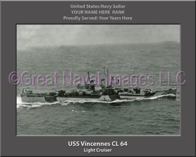 USS Vincennes CL 64 Personalized Navy Ship Photo Printed on Canvas