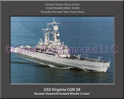 USS Virginia CGN 38 Personalized Navy Ship Photo Printed on Canvas