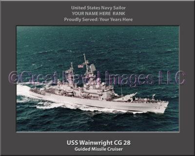 USS Wainwright CG 28 Personalized Navy Ship Photo Printed on Canvas