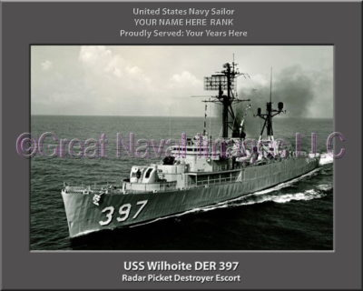 USS Whiloite DER 397 Personalized Navy Ship Photo