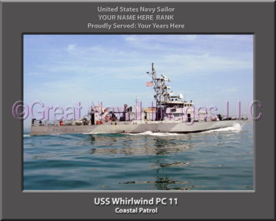 USS Whirlwind PC 11 Personalized Photo on Canvas