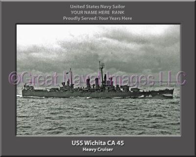 USS Wichita CA 45 Personalized Navy Ship Photo Printed on Canvas