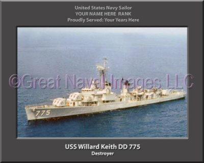 USS Willard Keith DD 775 Personalized Navy Ship Photo