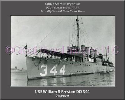 USS William B Preston DD 344 Personalized Navy Ship Photo