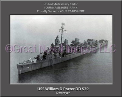 USS William D Porter DD 579 Personalized Navy Ship Photo