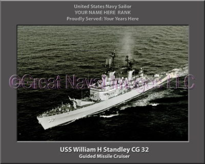 USS William H Standley CG 32 Personalized Navy Ship Photo on Canvas