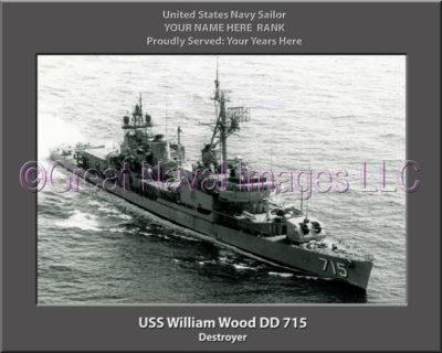 USS William Wood DD 715 Personalized Navy Ship Photo