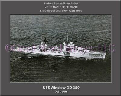 USS Winslow DD 359 Personalized Navy Ship Photo