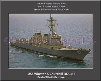 USS Winston S Churchill DDG 81 Personalized Navy Ship Photo